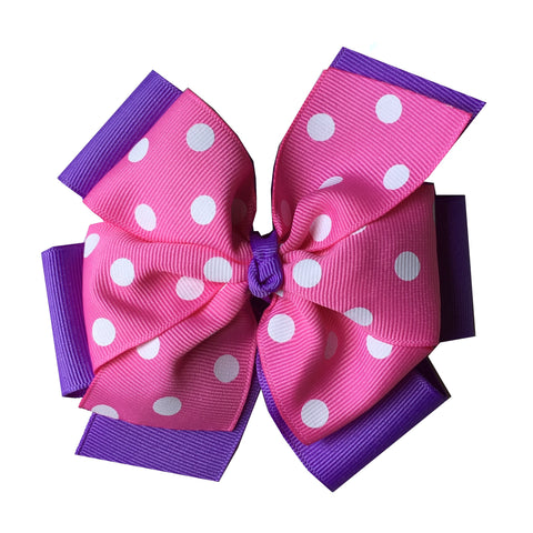 Extra Large Hot Pink and Lavender Layered Hair Bow with Swiss Dots