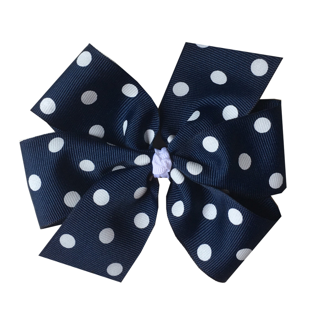 Extra Large Navy with White Polka Dot Hair Bow