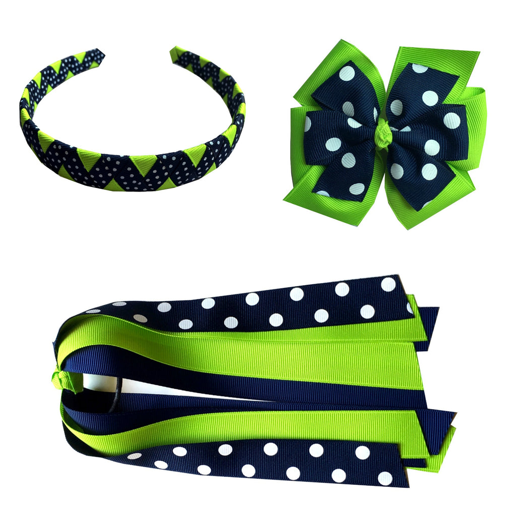 Bright Green Polka Dot Large Bow, Headband, and Streamer Bundle