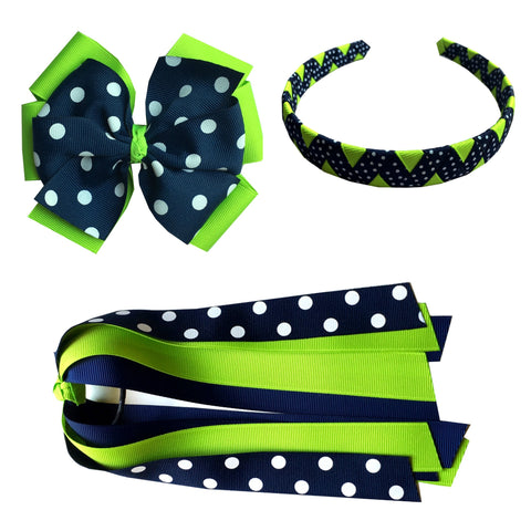 Navy and Bright Green Polka Dot Extra Large Bow, Headband, and Streamer Bundle