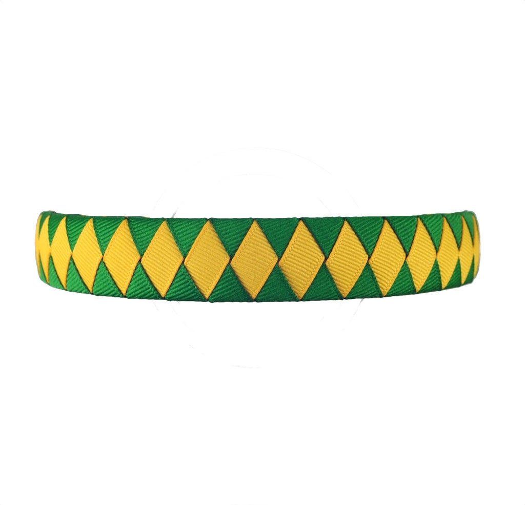 Yellow Gold and Green Woven Headband