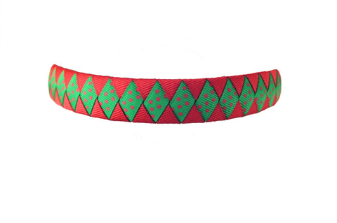 Red and Emerald Green with Red Swiss Dots Woven Headband
