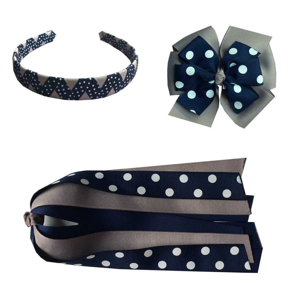 Navy and Grey Polka Dot Large Bow, Headband, and Streamer Bundle