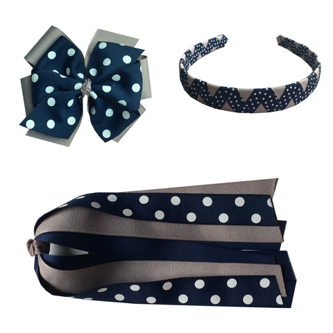 Navy and Grey Polka Dot Extra Large Bow, Headband, and Streamer Bundle