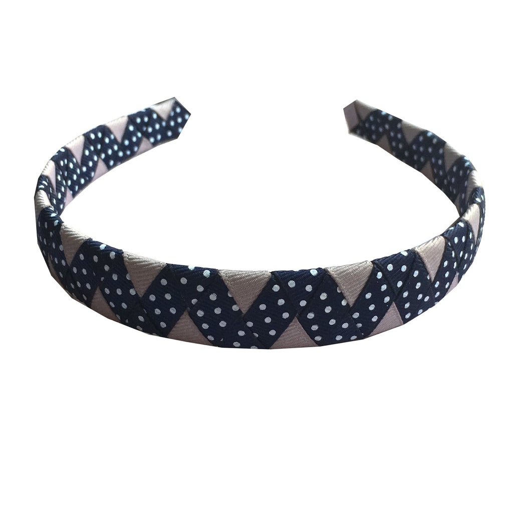 Grey and Navy Dot ZigZag Headband