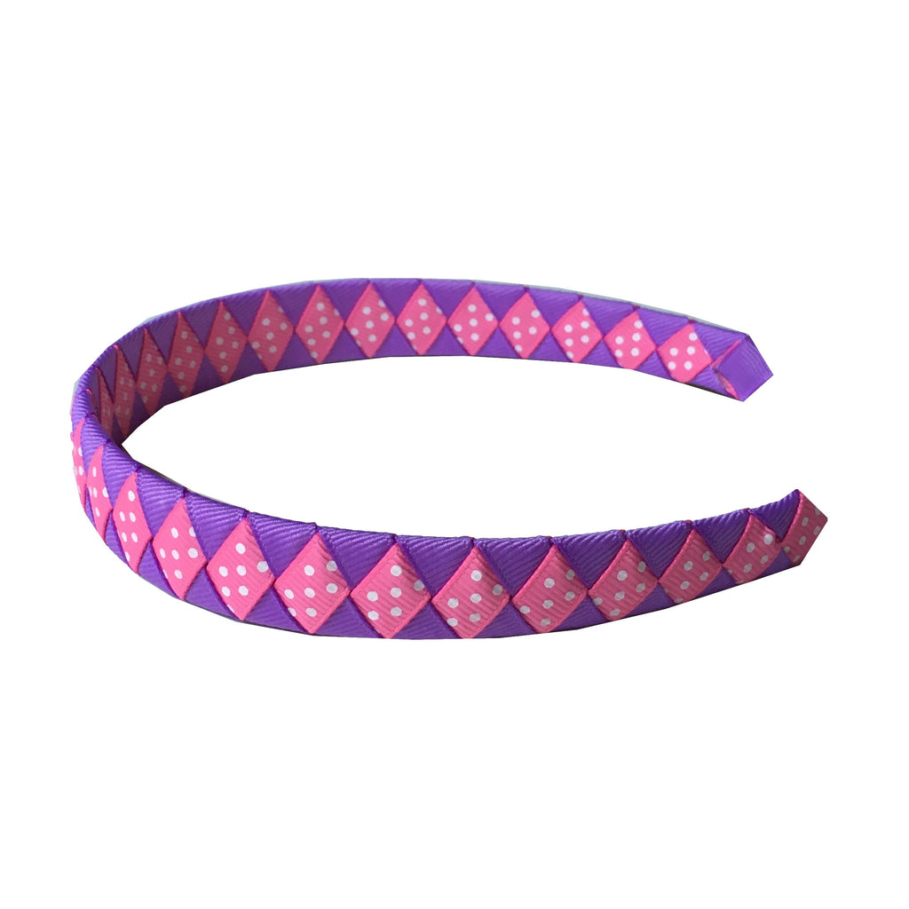 Hot Pink and Lavender Woven Headband with Swiss Dots