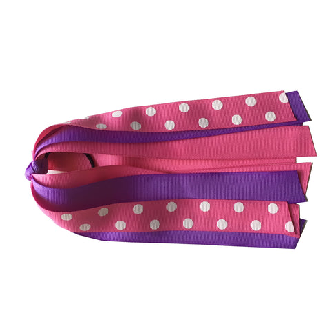 Hot Pink with Polka Dots and Lavender Ponytail Streamer