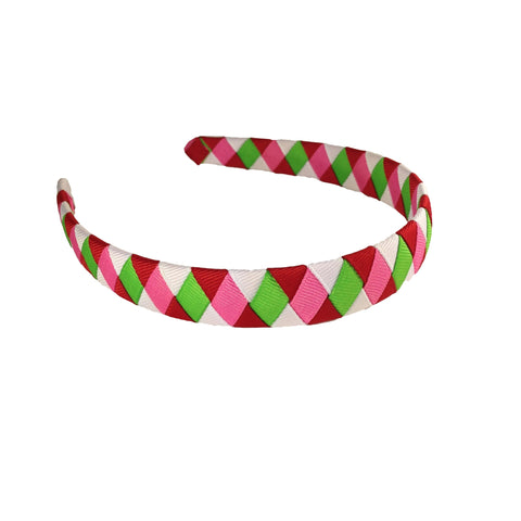 Apple Green, Red, White and Hot Pink Woven Headband