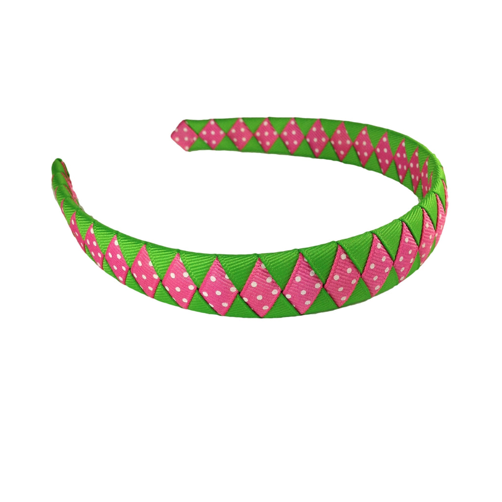 Apple Green and Hot Pink with Swiss Dots Woven Headband