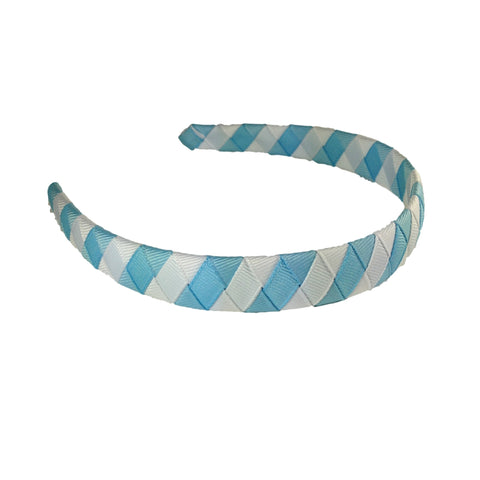White Striped Woven Headband - 33 Colors