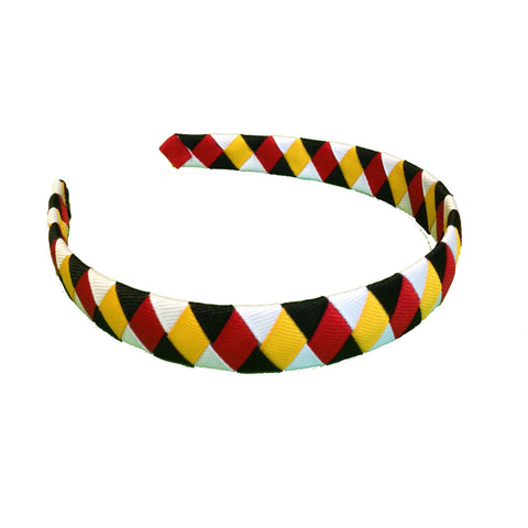 Red, Black, White, and Yellow Gold Woven Headband