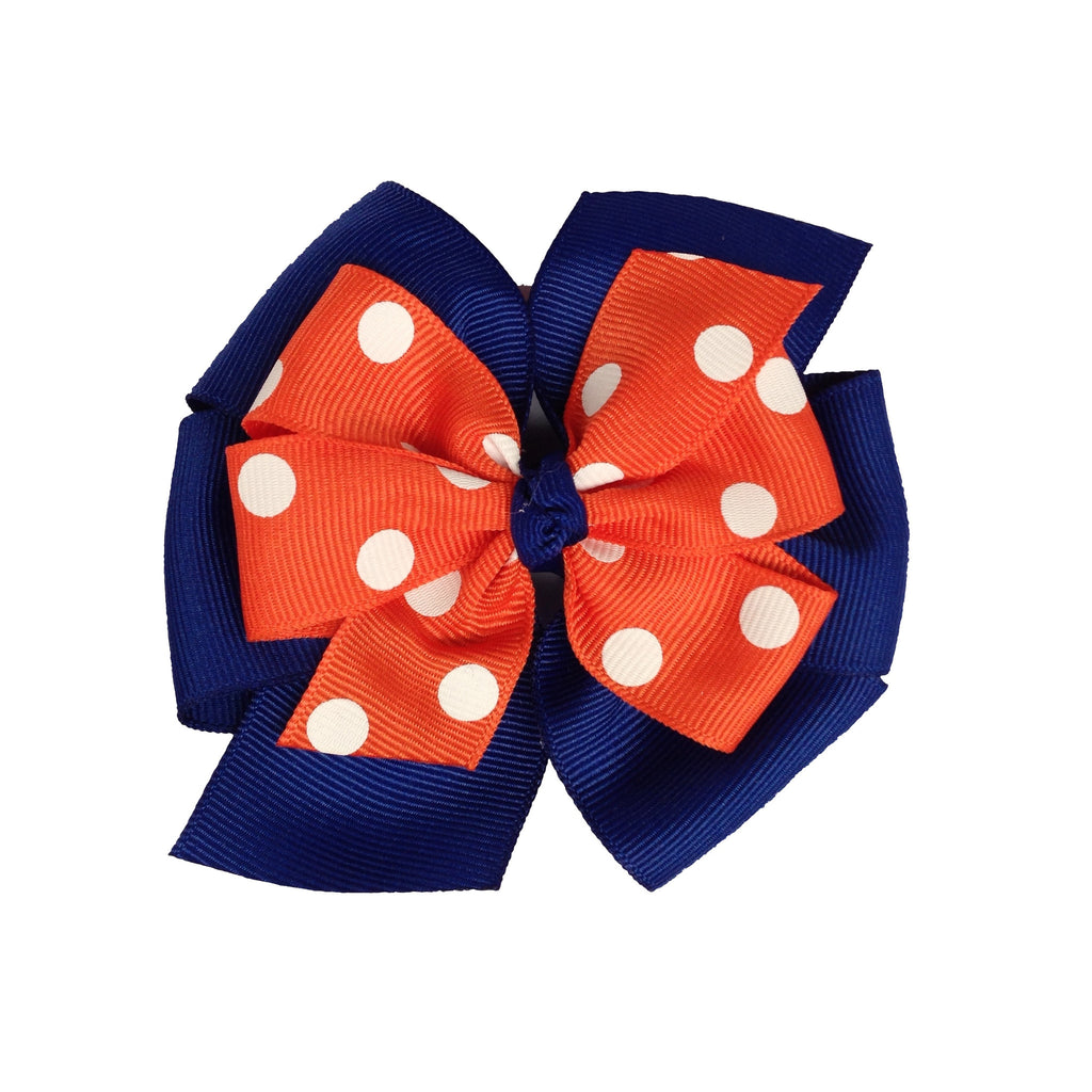"Orange and Purple Large 4"" Layered Pinwheel Bow"