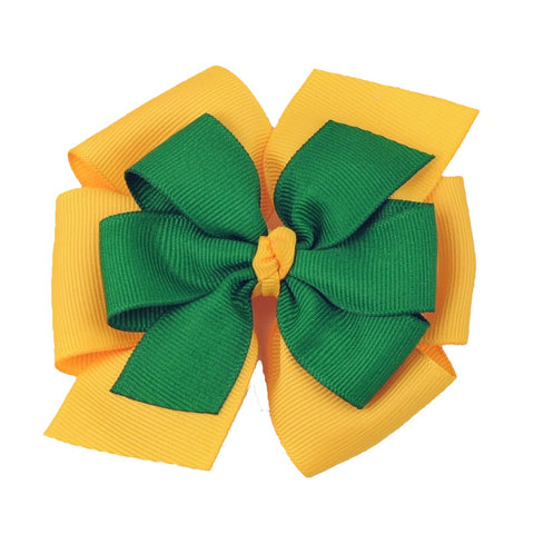 Large Green and Yellow Gold Layered Pinwheel Bow