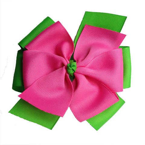 Apple Green and Hot Pink Layered Pinwheel Hair Bow