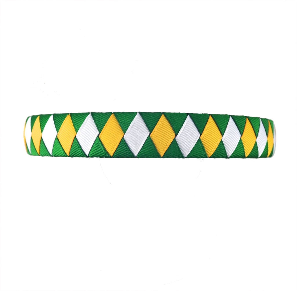 Yellow Gold, White, and Green Woven Headband