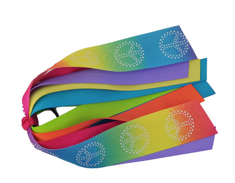 Peace Sign Tie Dye Ponytail Streamer