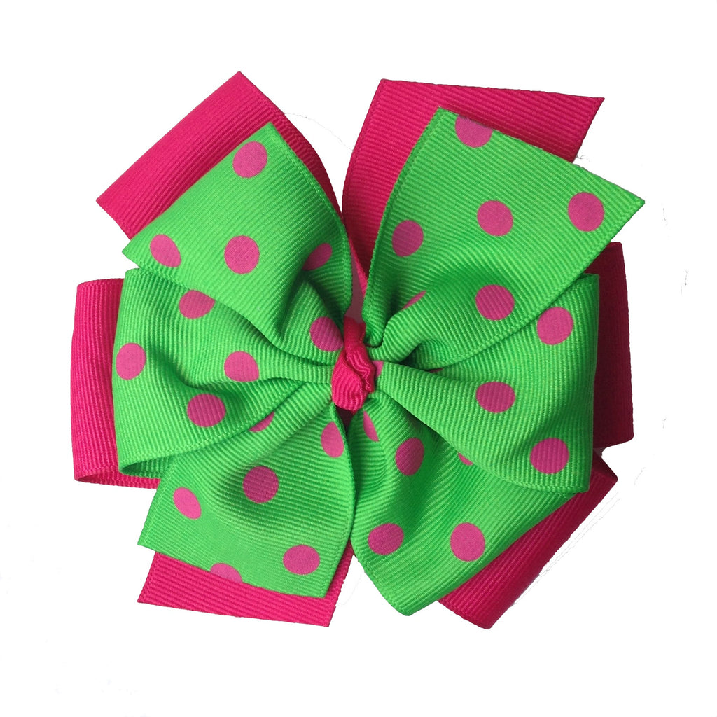 Magenta and Apple Green Layered Pinwheel Bow with Polka Dots
