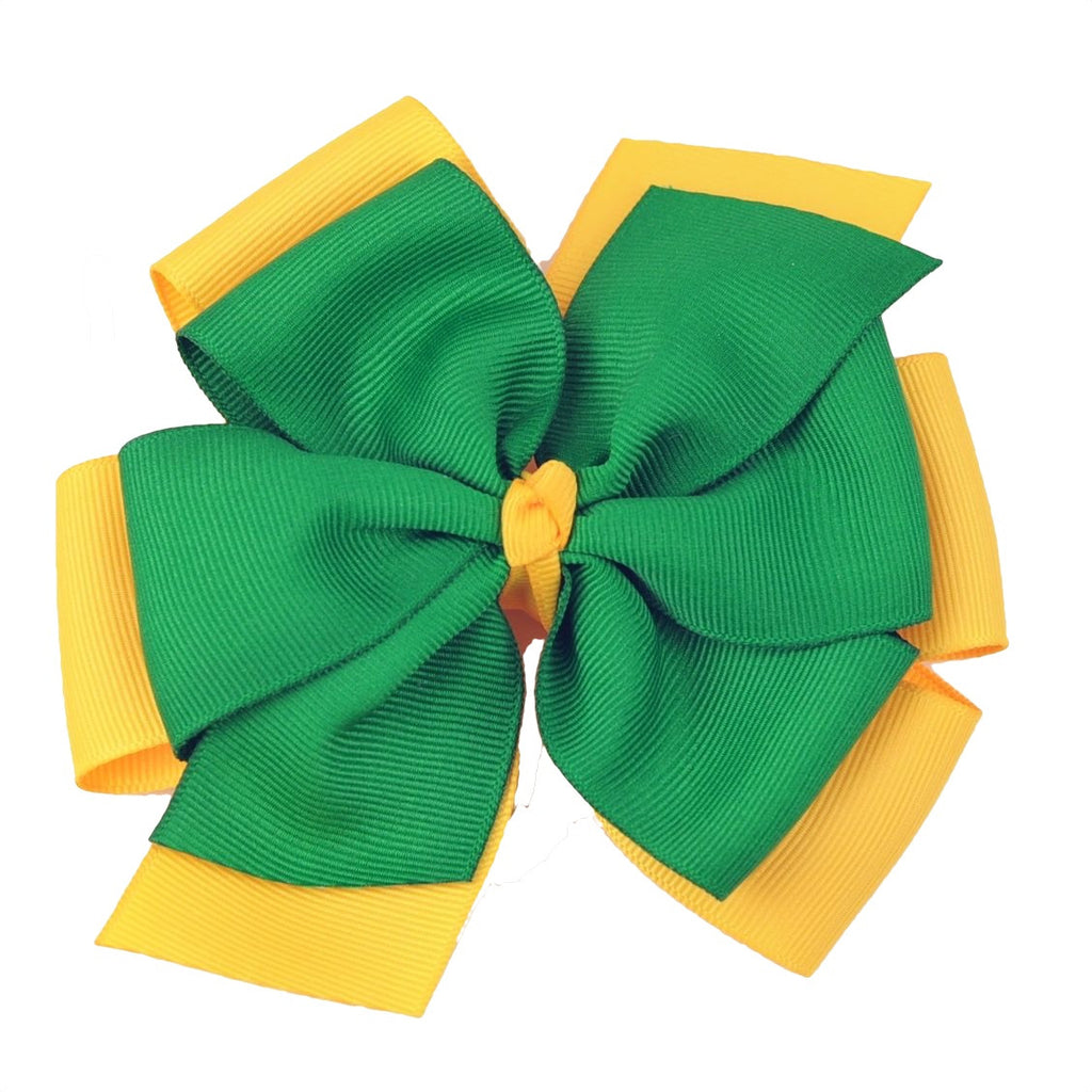 Extra Large Green and Yellow Gold Layered Pinwheel Bow
