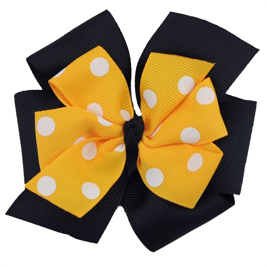 Black and Yellow Gold Layered Large Pinwheel Bow