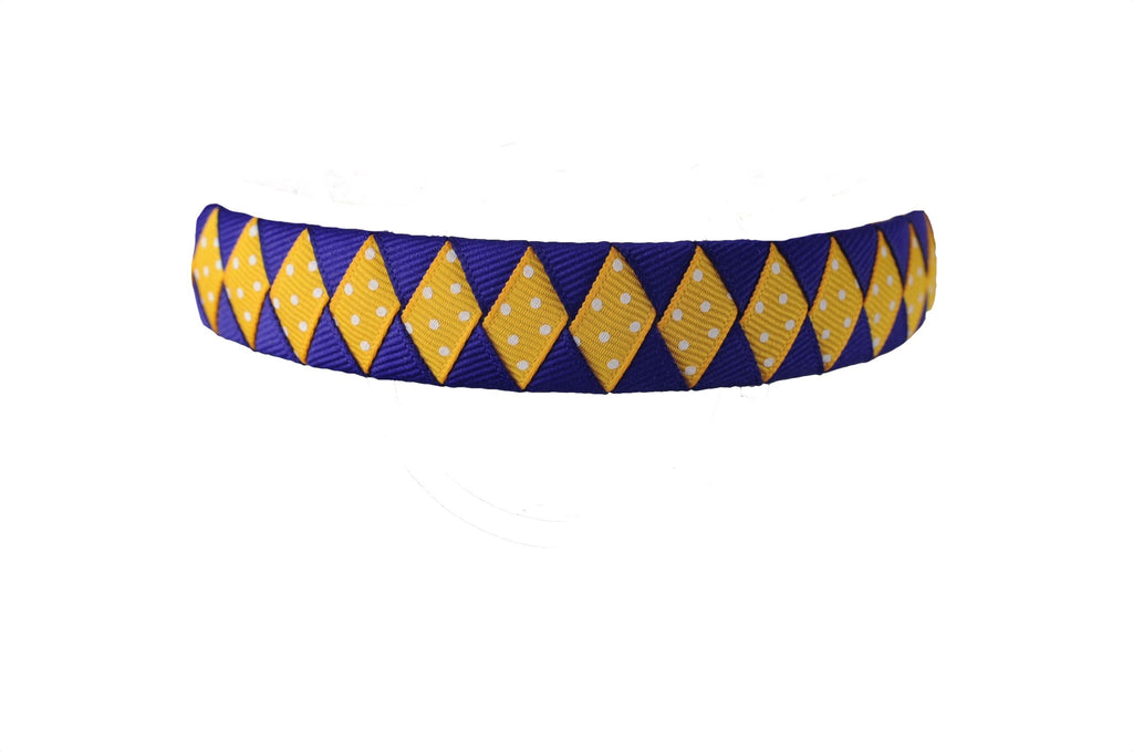 Yellow Gold and Purple Woven Headband with Swiss Dots