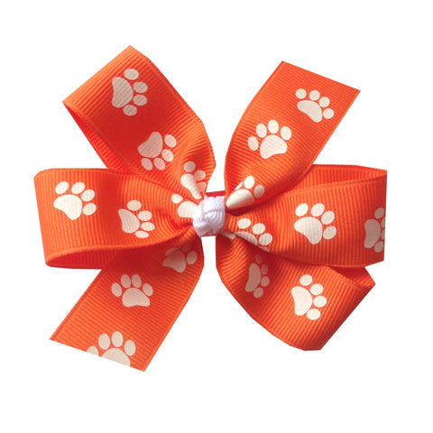 "Large 4"" Clemson Orange Paw Print Pinwheel Hair Bow"