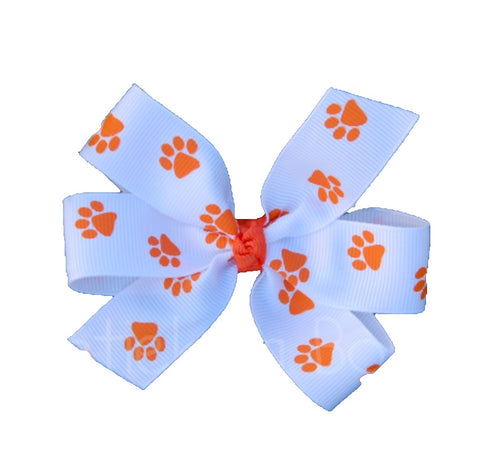 "Clemson Large 4"" White and Orange Paw Print Hair Bow"