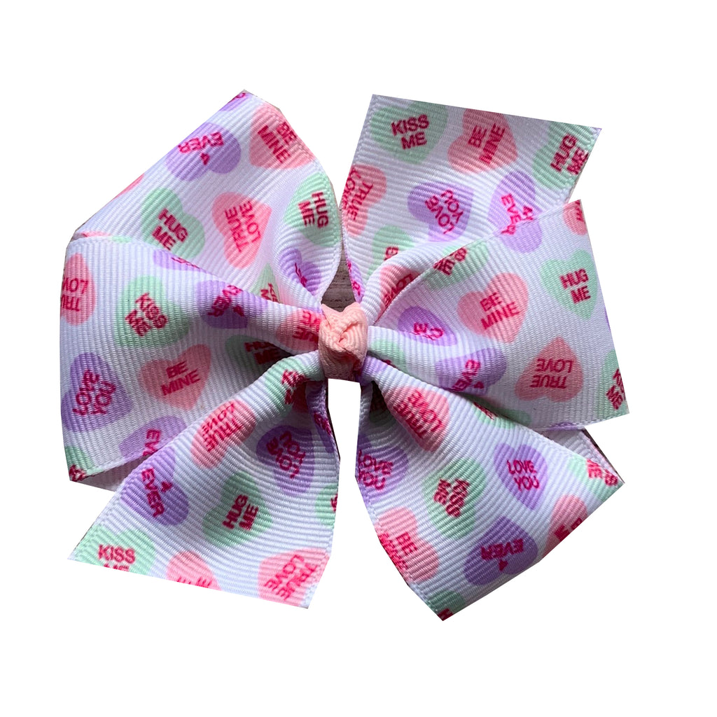 Large Conversation Heart Hair Bow