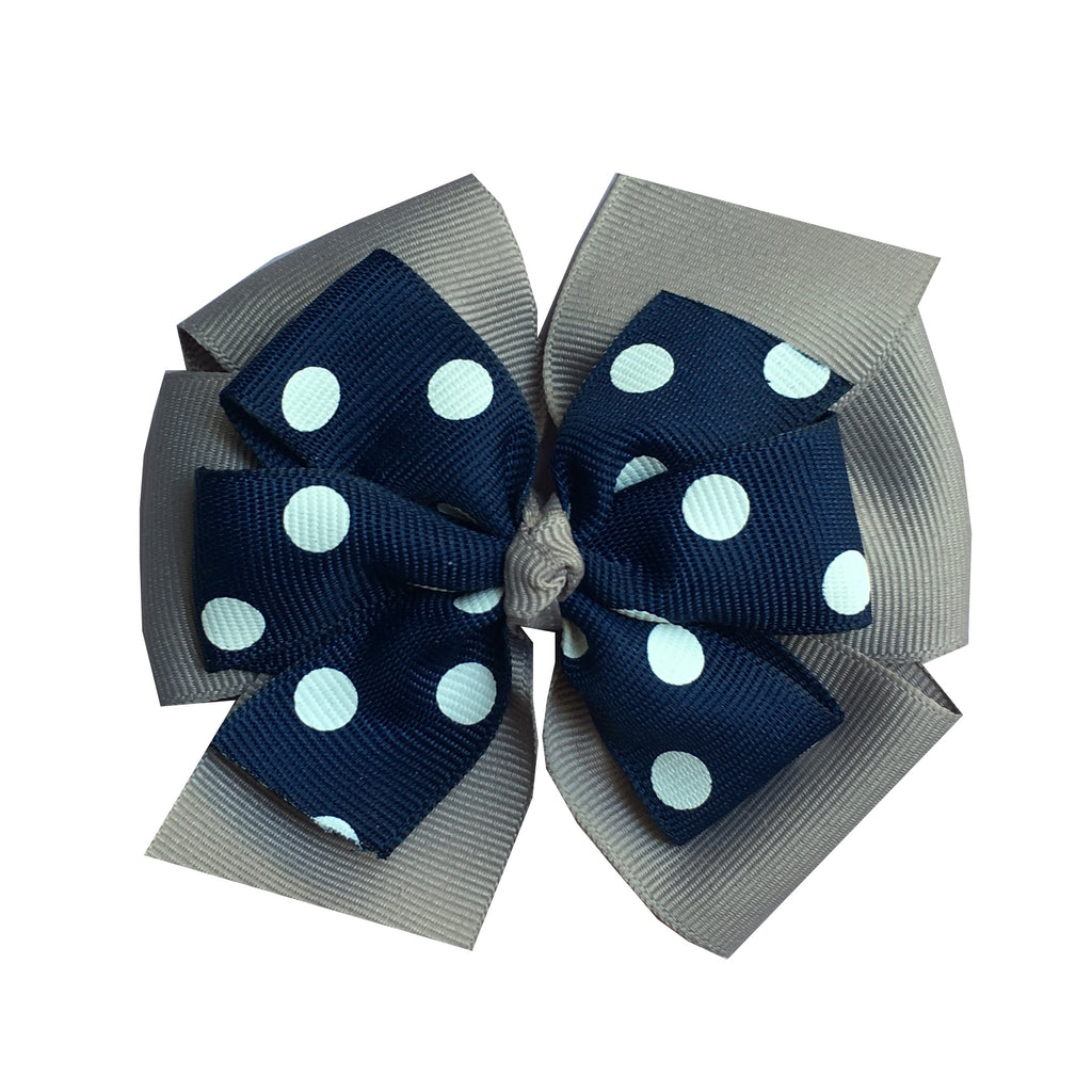 Large Layered Grey and Navy Polka Dot Hair Bow