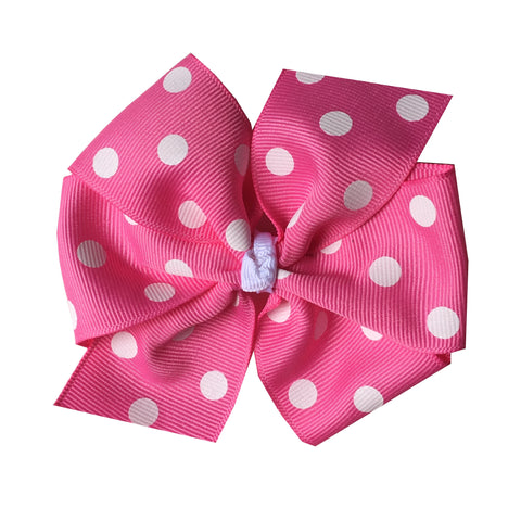 Large Hot Pink Polka Dot Hair Bow