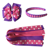 Large Hot Pink and Lavender with Swiss Dots Bundle