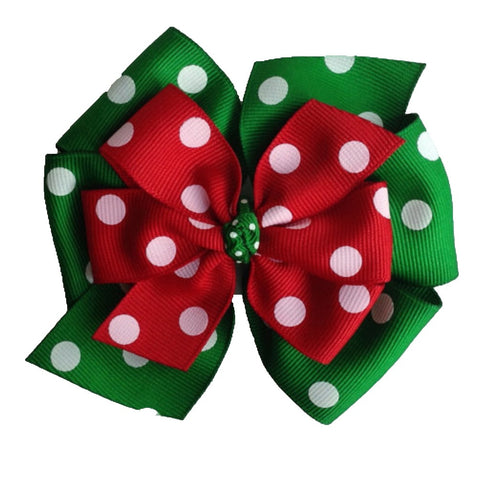 "Large 4"" Emerald Green and Red Layered Bow with Polka Dots"