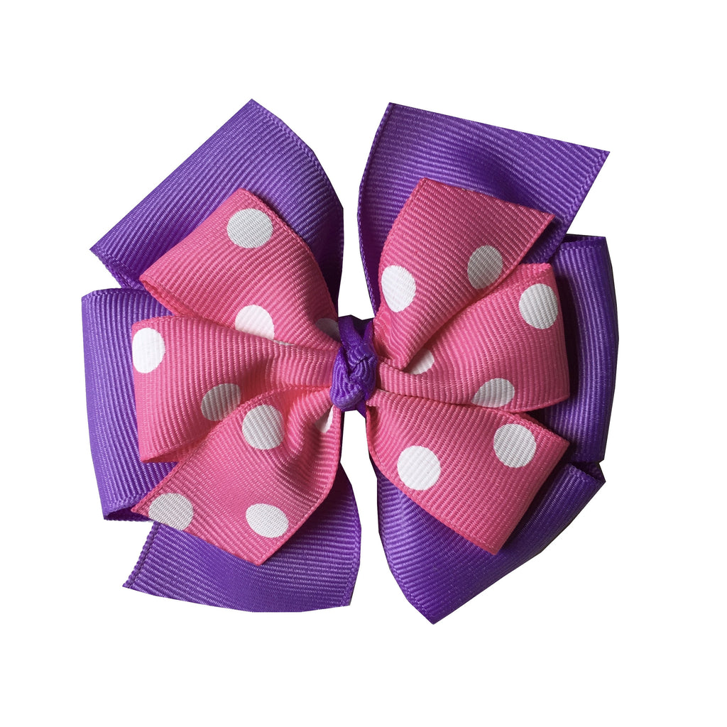 Large Hot Pink and Lavender Layered Hair Bow with Swiss Dots