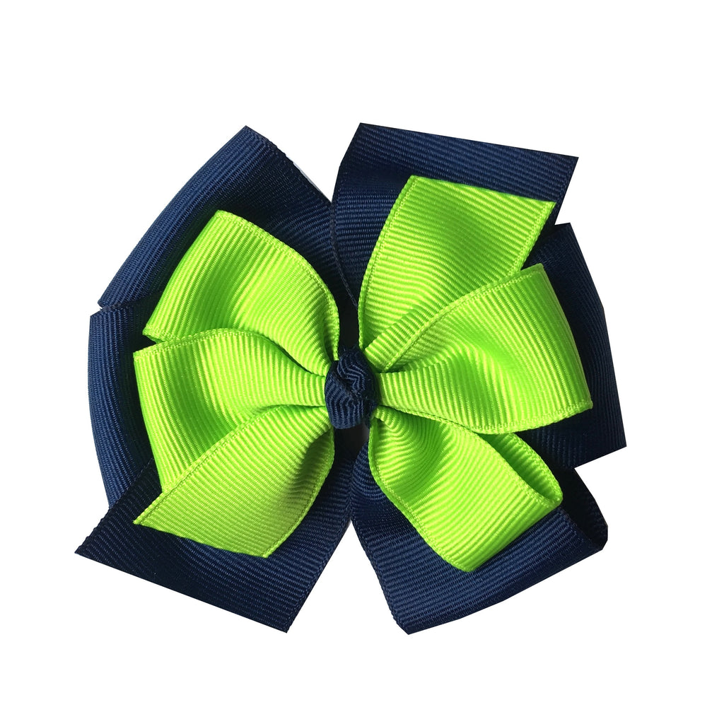 Lypple Green and Navy Large Layered Hair Bow