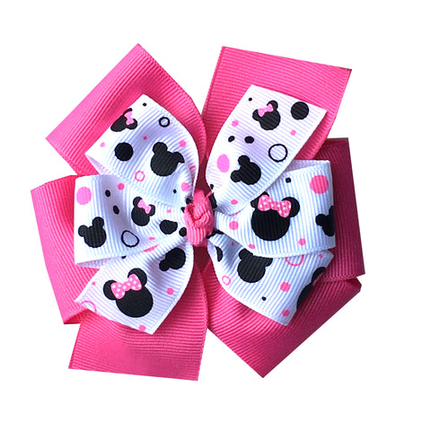 Large Layered Hot Pink Minnie Mouse Hair Bow