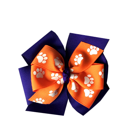 "Orange and Purple Large 4"" Layered Pinwheel Bow with Paw Prints"