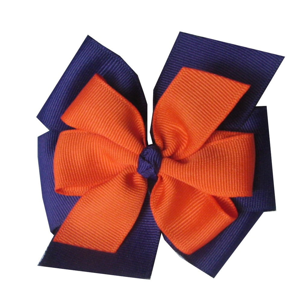 "Clemson Large 4"" Layered Orange and Purple Hair Bow"