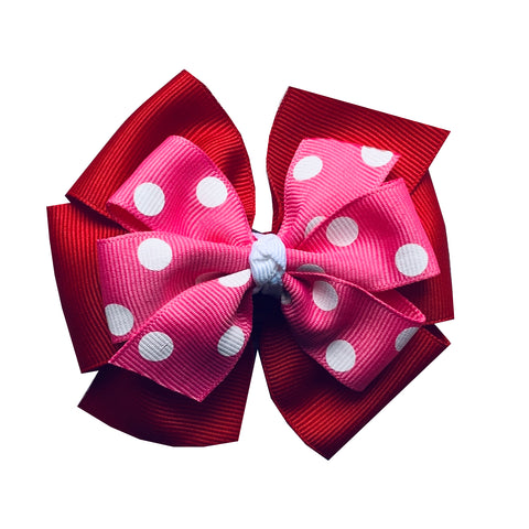 Large Red and Hot Pink Polka Dot Pinwheel Bow