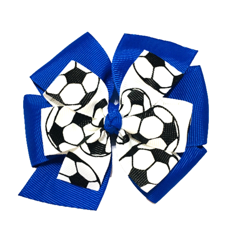 Layered Soccer Hair Bow - Choose Your Team Color
