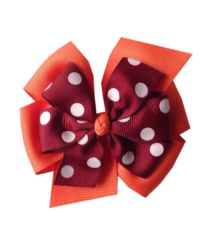 Maroon and Orange Large Layered Hair Bow with Polka Dots