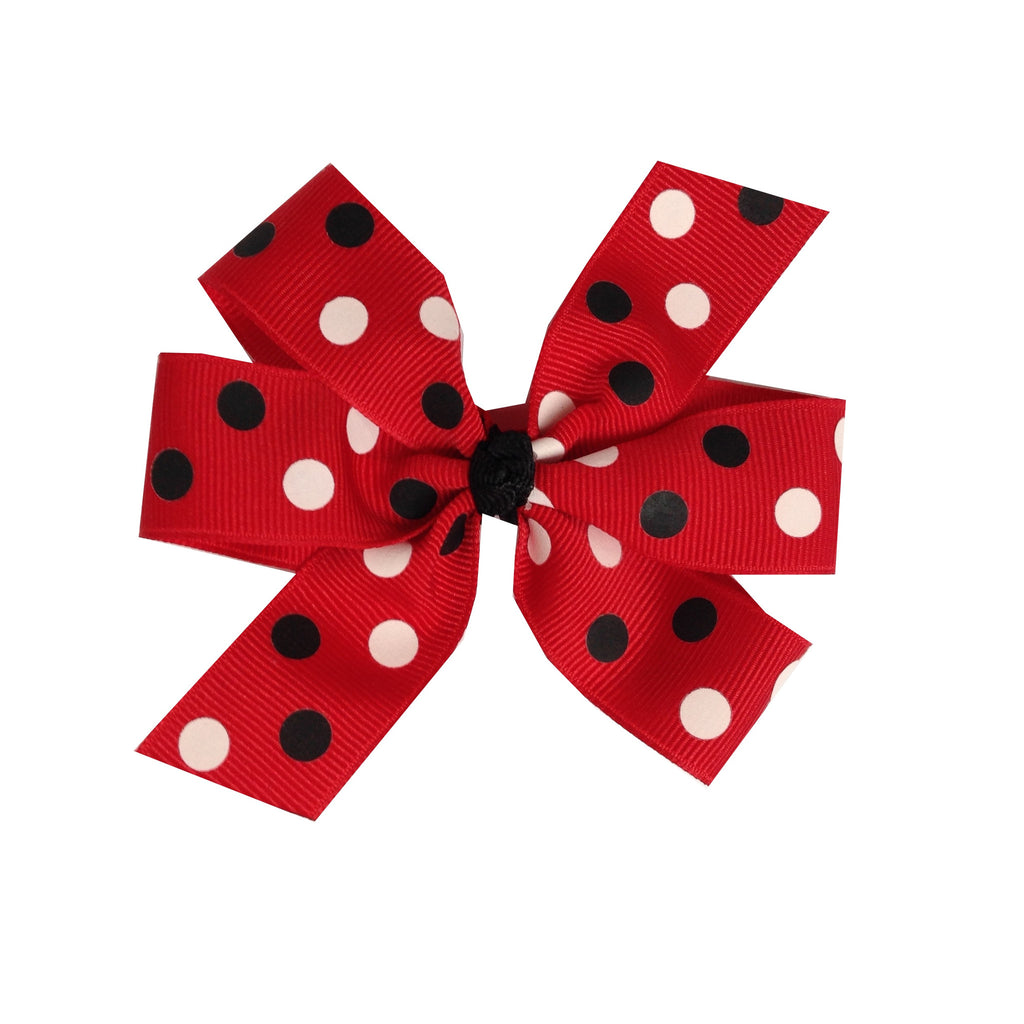 Large Red Bow with Black and White Dots