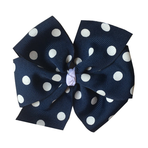 Large Navy with White Polka Dot Hair Bow