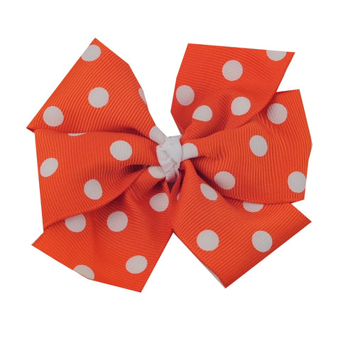 "Large 4"" Orange Polka Dot Hair Bow"