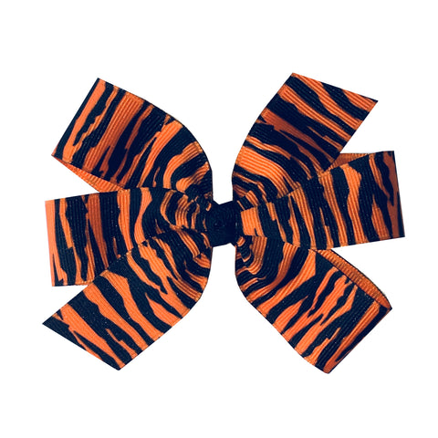 "Large 4"" Tiger Stripe Pinwheel Bow - Orange and Black"