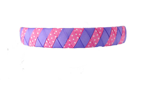 Purple and Hot Pink with Swiss Dots Woven Headband