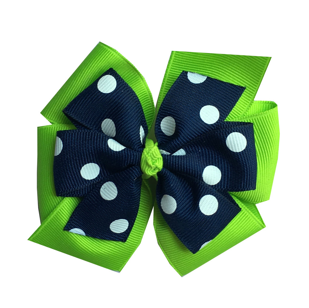 Large Layered Lypple Green and Navy Polka Dot Hair Bow