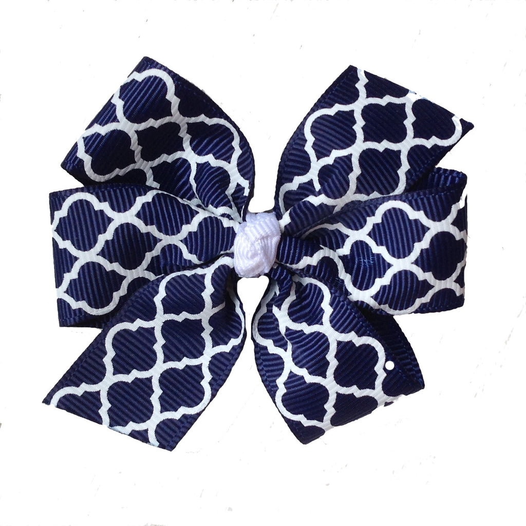 Medium Navy and White Quatrefoil Hair Bow