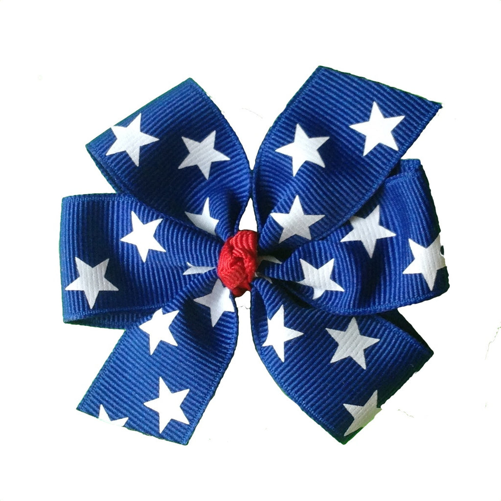 Royal Blue with White Stars Hair Bow - 2 sizes