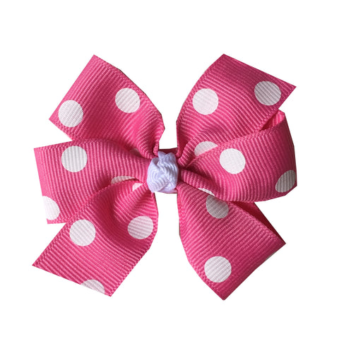 Medium Hot Pink Polka Dot Hair Bow