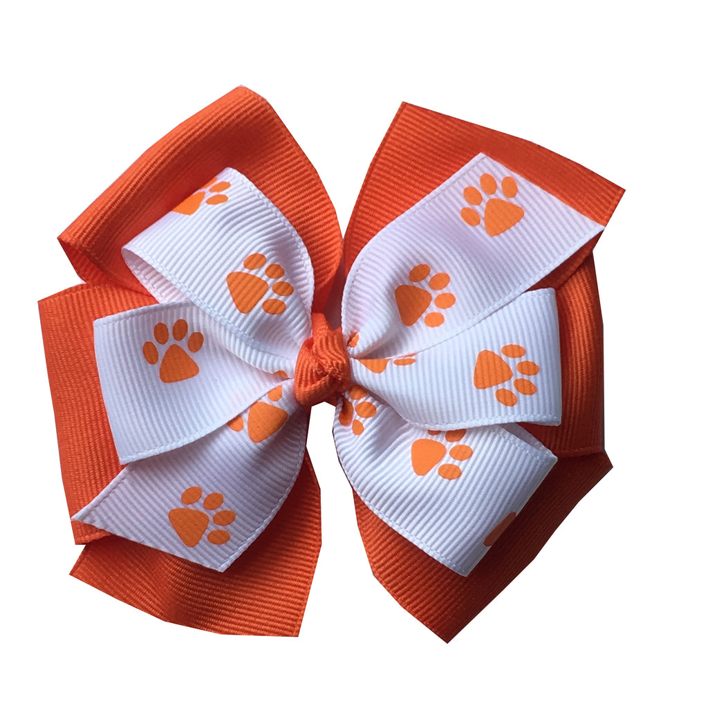 "Clemson Large 4"" Stacked Paw Print Hair Bow"
