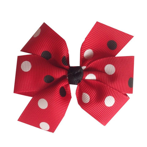 Medium Red Bow with Black and White Dots